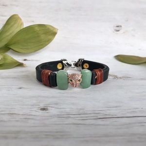 Hand Crafted Leather and Jade Jaguar Bracelet